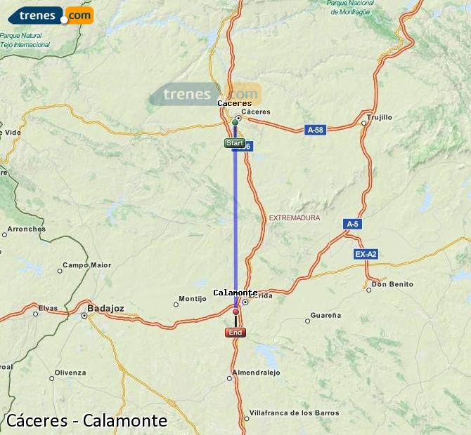 Enlarge map Trains Caceres to Calamonte