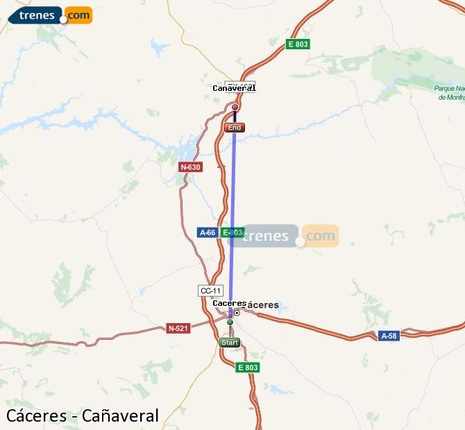 Agrandir la carte Trains Cáceres Cañaveral