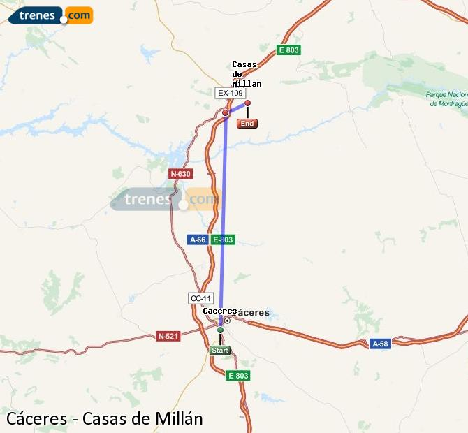Enlarge map Trains Caceres to Houses of Millán