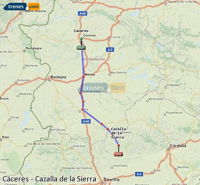 Enlarge map Trains Caceres to Cazalla de la Sierra