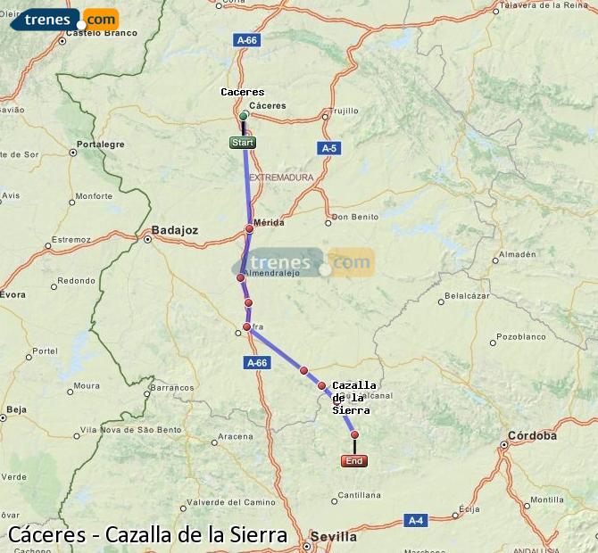 Ingrandisci la mappa Treni Cáceres Cazalla de la Sierra