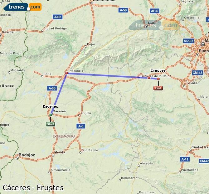 Ingrandisci la mappa Treni Cáceres Erustes