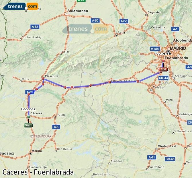 Ingrandisci la mappa Treni Cáceres Fuenlabrada