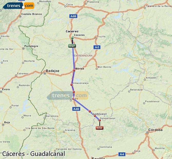 Enlarge map Trains Caceres to Guadalcanal