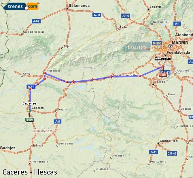Enlarge map Trains Caceres to Illescas