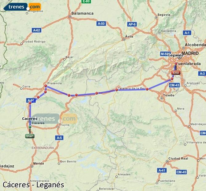 Enlarge map Trains Caceres to Leganes