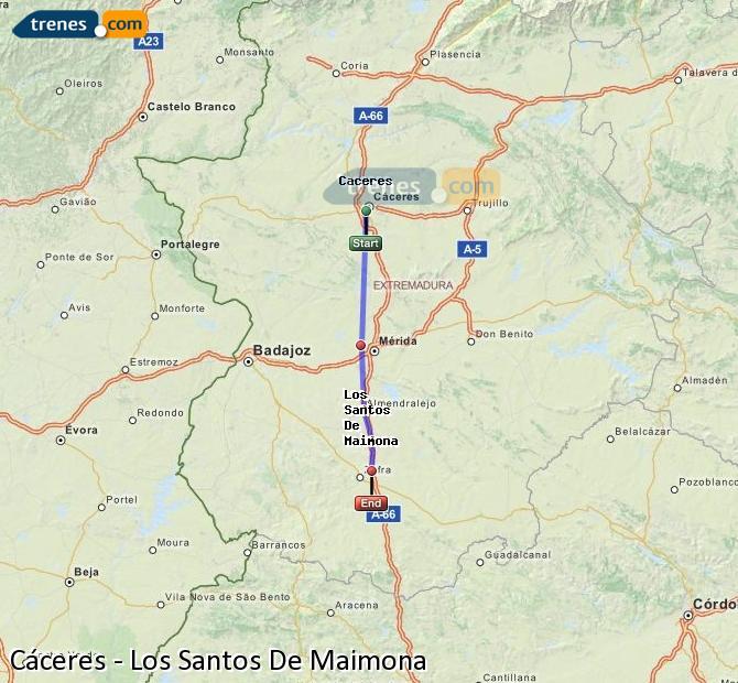 Enlarge map Trains Caceres to Los Santos De Maimona