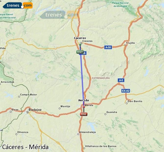 Ampliar mapa Trenes Cáceres Mérida