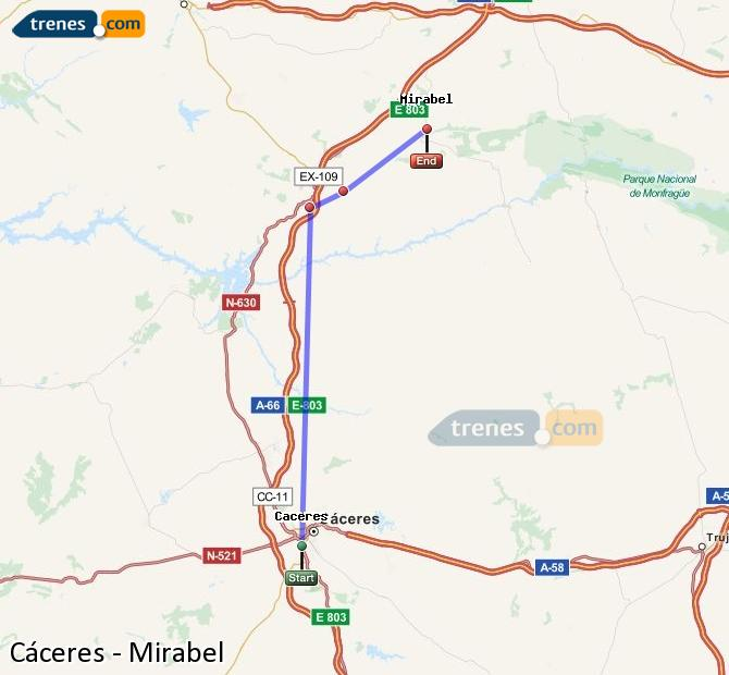 Enlarge map Trains Caceres to Mirabel