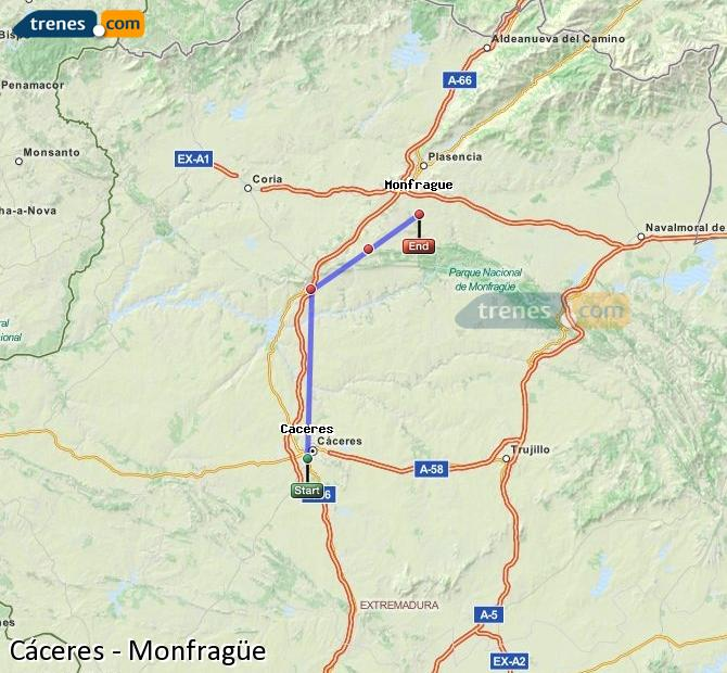 Agrandir la carte Trains Cáceres Monfragüe
