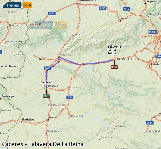 Enlarge map Trains Caceres to Talavera De La Reina