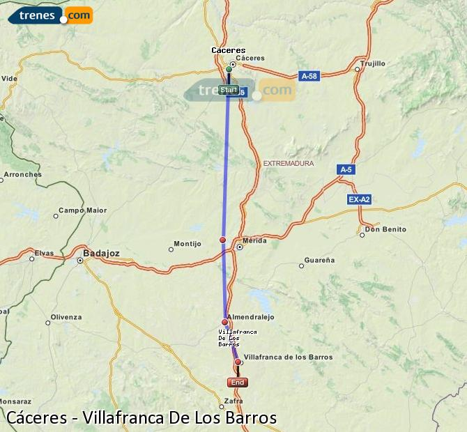 Enlarge map Trains Caceres to Villafranca De Los Barros