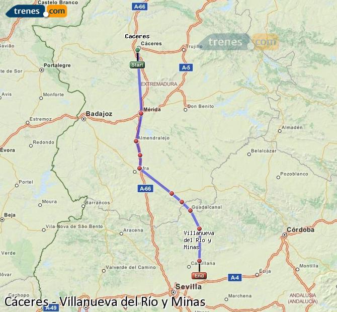 Ingrandisci la mappa Treni Cáceres Villanueva del Río y Minas