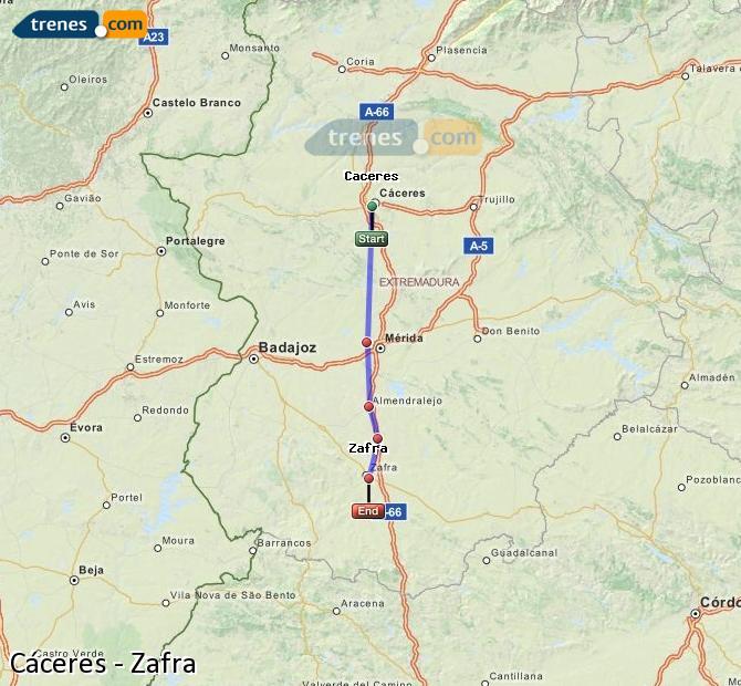Ingrandisci la mappa Treni Cáceres Zafra