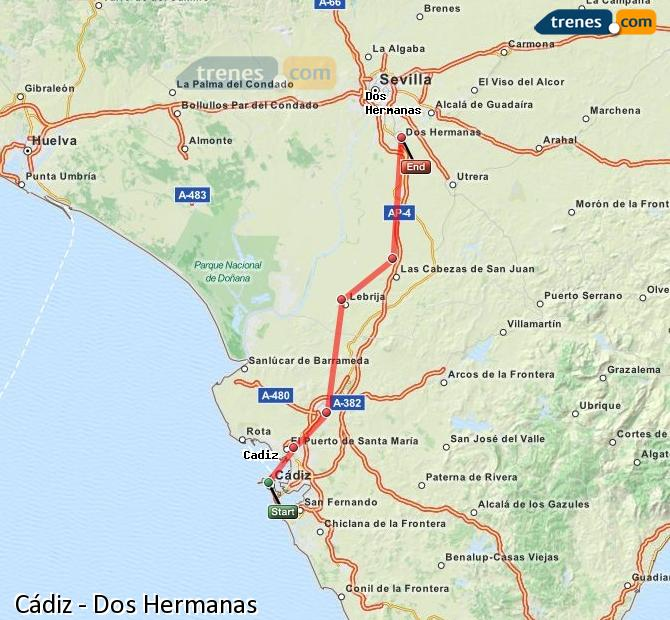 Enlarge map Trains Cadiz to Dos Hermanas