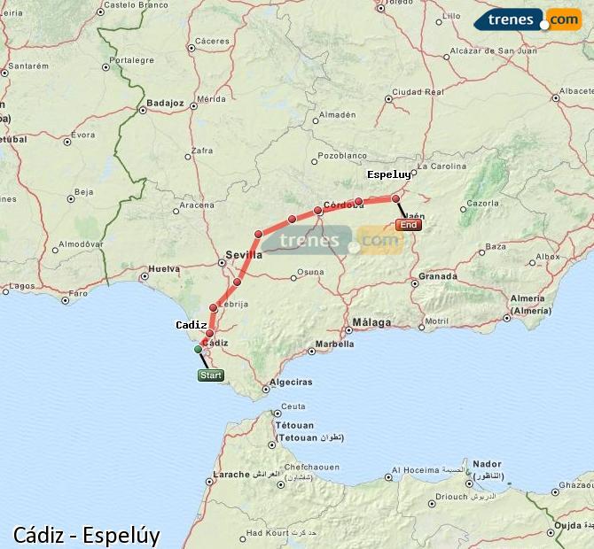 Enlarge map Trains Cadiz to Espelúy