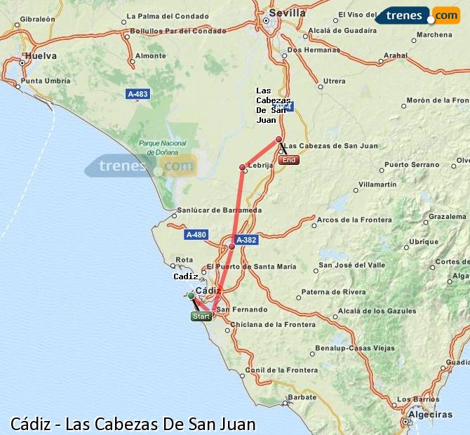 Enlarge map Trains Cadiz to Las Cabezas De San Juan