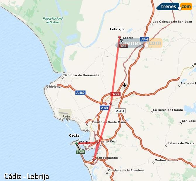 Enlarge map Trains Cadiz to Lebrija