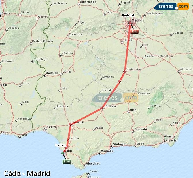 Ampliar mapa Trenes Cádiz Madrid