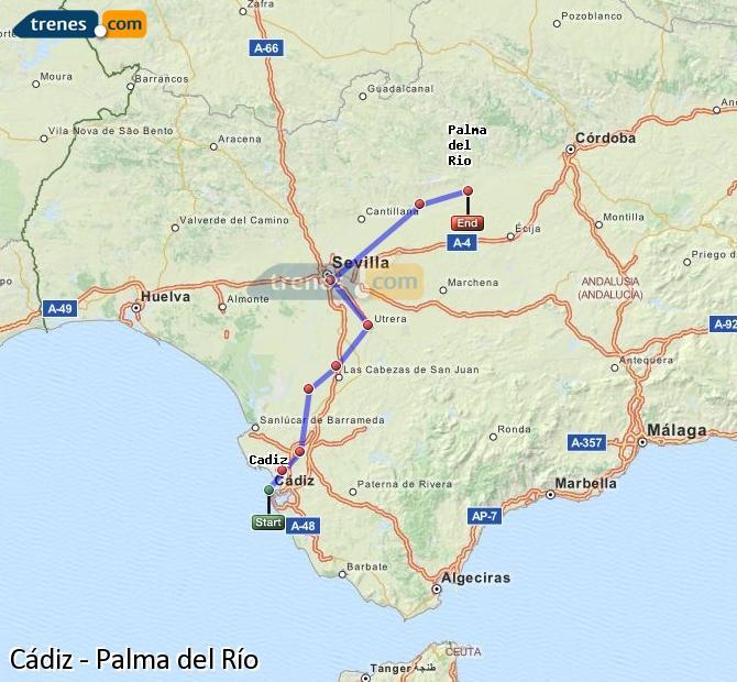 Enlarge map Trains Cadiz to Palma del Río
