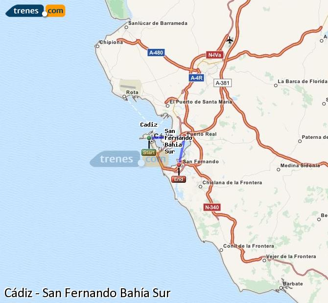 Enlarge map Trains Cadiz to San Fernando South Bay