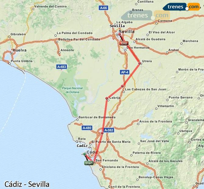 Enlarge map Trains Cadiz to Seville