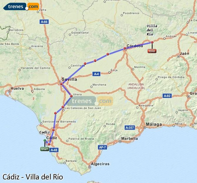 Enlarge map Trains Cadiz to Villa del Rio