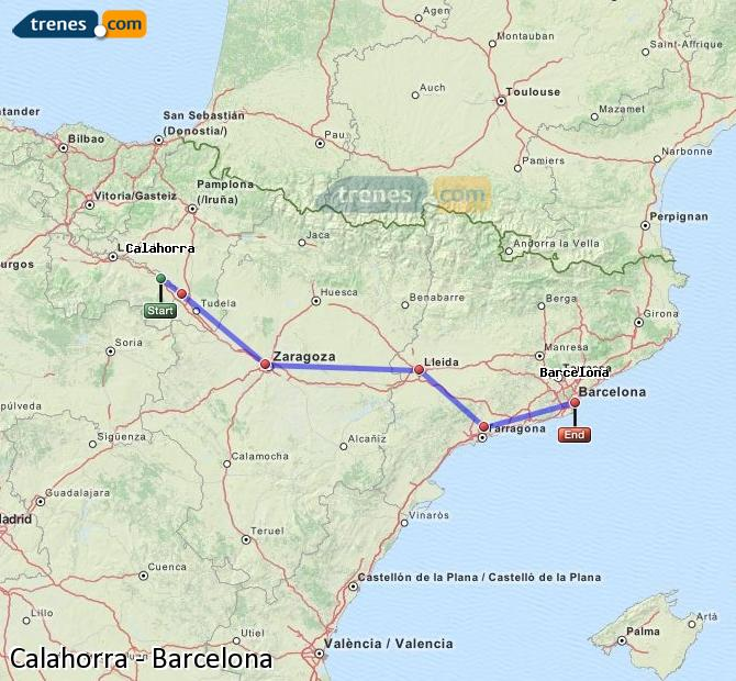 Enlarge map Trains Calahorra to Barcelona