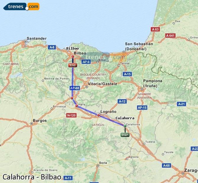 Agrandir la carte Trains Calahorra Bilbao