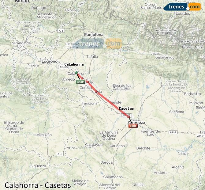 Karte vergrößern Züge Calahorra Casetas