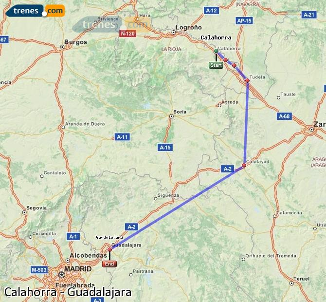 Ampliar mapa Comboios Calahorra Guadalajara