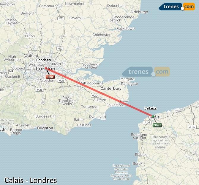 Ingrandisci la mappa Treni Calais London