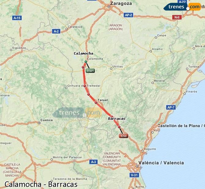Ingrandisci la mappa Treni Calamocha Barracas