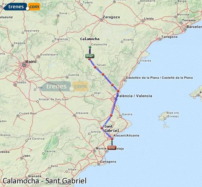 Agrandir la carte Trains Calamocha Sant Gabriel