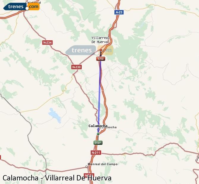 Ampliar mapa Comboios Calamocha Villarreal De Huerva
