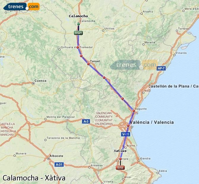 Ingrandisci la mappa Treni Calamocha Xàtiva