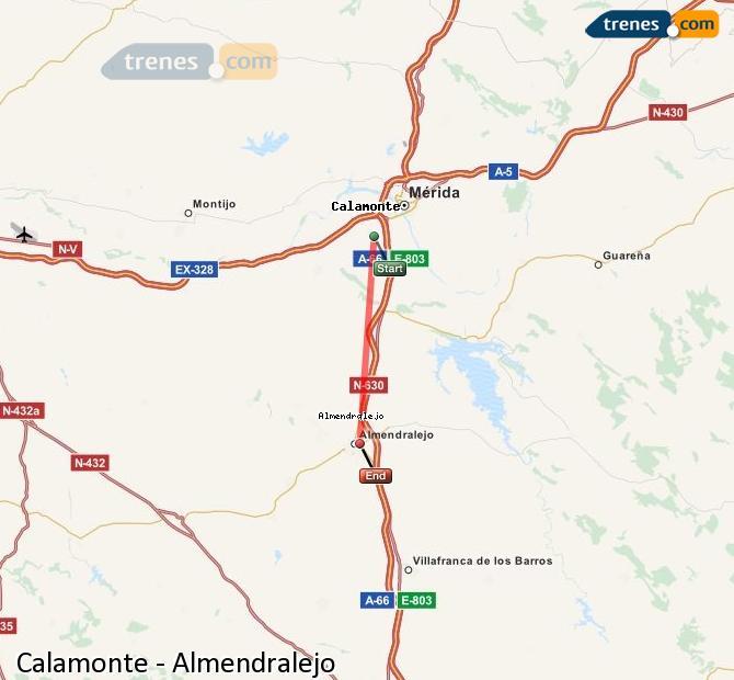 Karte vergrößern Züge Calamonte Almendralejo