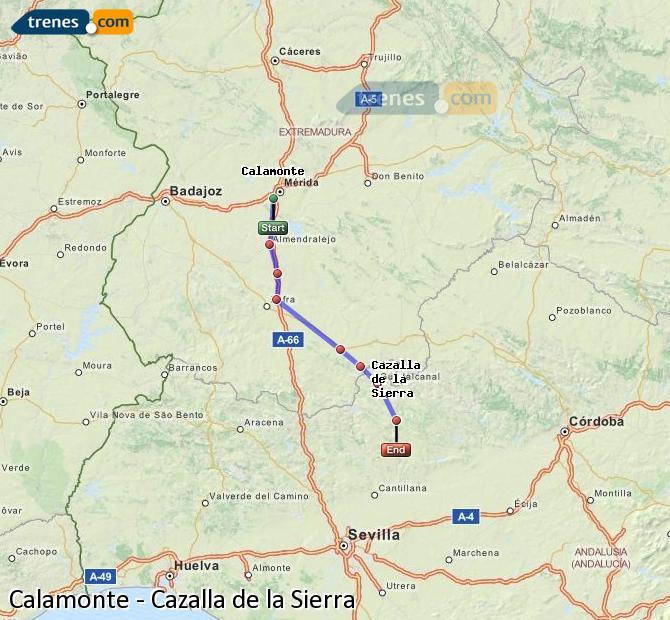 Karte vergrößern Züge Calamonte Cazalla de la Sierra