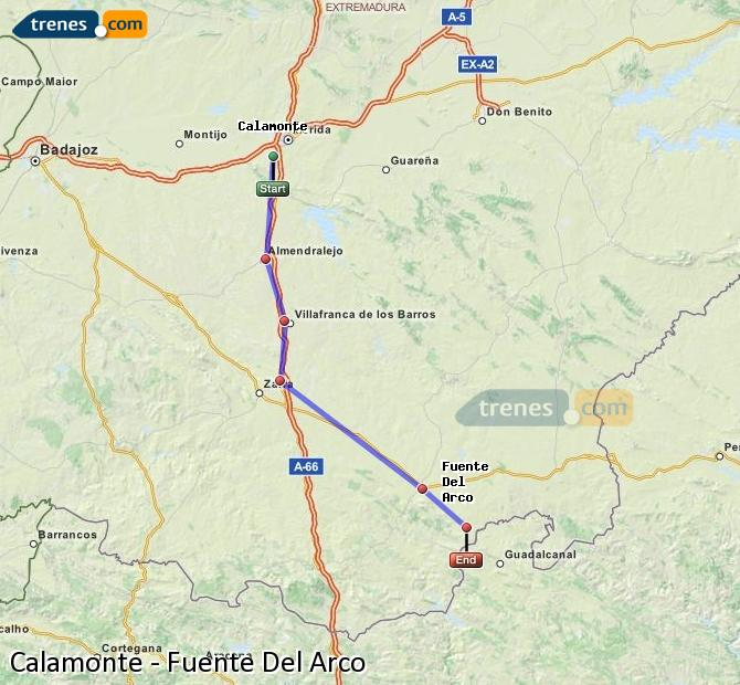 Enlarge map Trains Calamonte to Fuente Del Arco