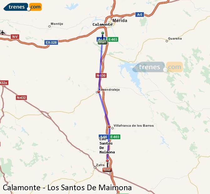 Enlarge map Trains Calamonte to Los Santos De Maimona