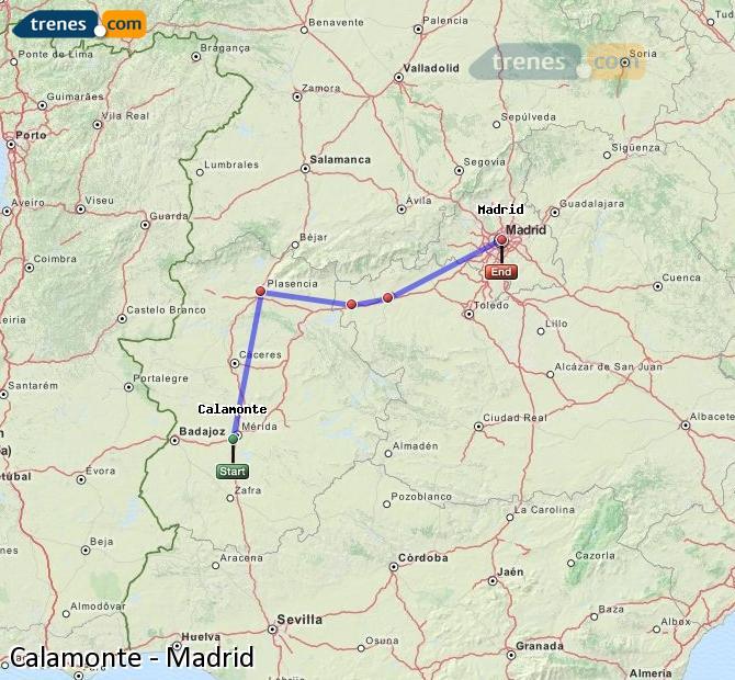 Agrandir la carte Trains Calamonte Madrid