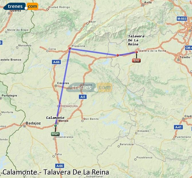 Enlarge map Trains Calamonte to Talavera De La Reina