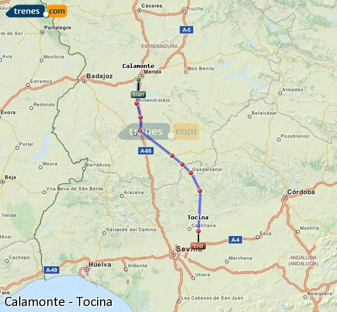 Enlarge map Trains Calamonte to Tocina