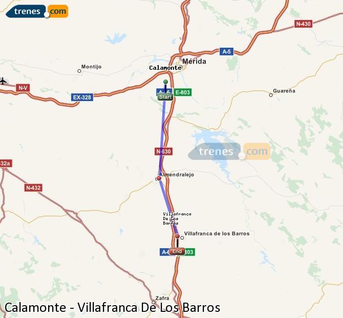 Enlarge map Trains Calamonte to Villafranca De Los Barros