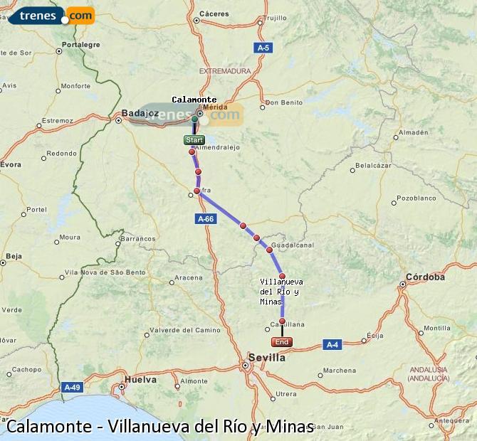 Enlarge map Trains Calamonte to Villanueva del Río y Minas