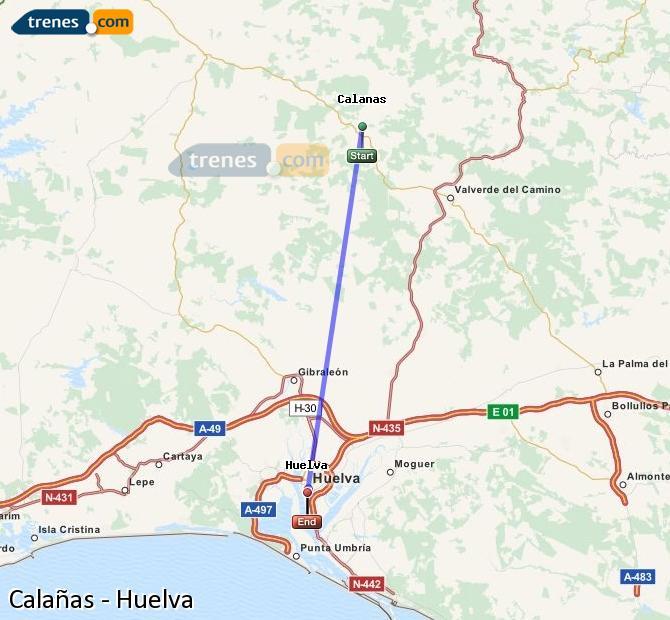 Karte vergrößern Züge Calañas Huelva