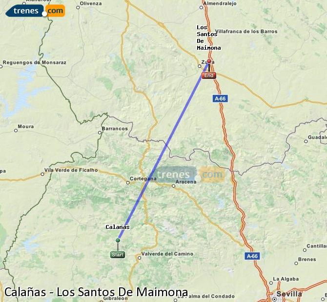 Ampliar mapa Comboios Calañas Los Santos De Maimona
