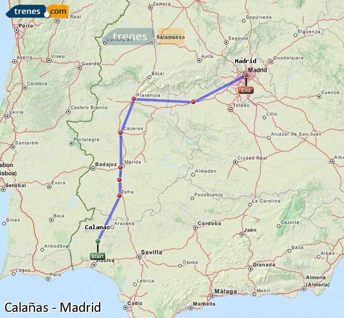 Agrandir la carte Trains Calañas Madrid