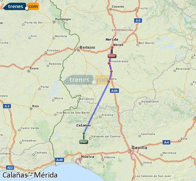 Ingrandisci la mappa Treni Calañas Mérida