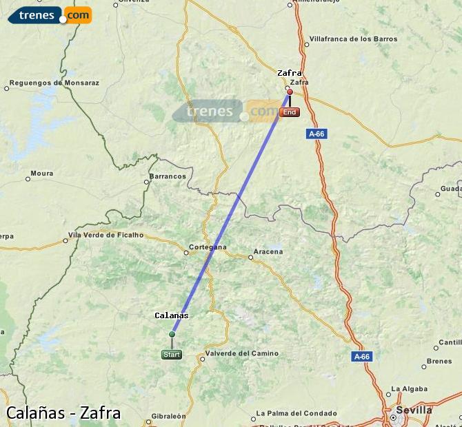 Agrandir la carte Trains Calañas Zafra